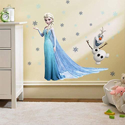 Pegatinas de pared para habitación infantil, diseño de princesa Elsa Anna