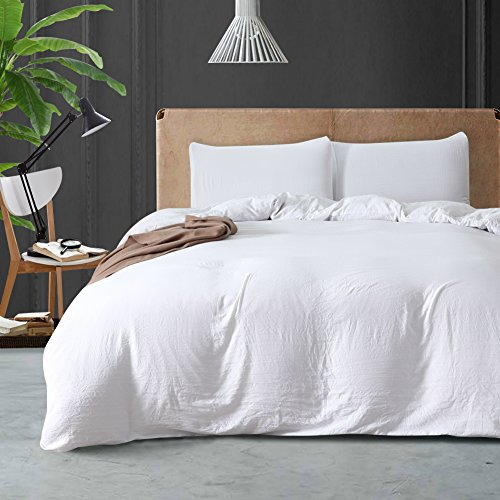 feelyou douvet Cover Set 3PCS Pure Colors Washed Cotton Comfortable, Bedding Queen Brushed Microfiber for Families/Friends Cover with Zipper Closure White