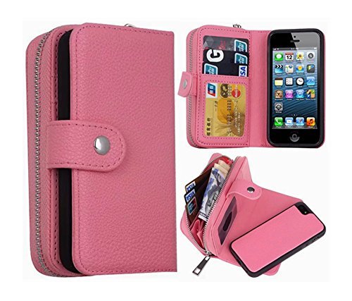 mollycoocle iphone case 5s iPhone 5/5S/SE Wallet Case, Hynice iPhone 5/5S/SE Wallet Purse Case Leather Zipper Case with Credit Card Slots and Magnetic Detachable Slim Cover for iPhone 5/5S/SE (Litchi-Pink)