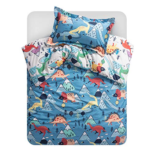 Bedsure Bettwäsche Kinder 100x135 cm Kinderbettwäsche 100 x 135 jungen, Bettwäsche Dinosaurier Muster mit 40x60 cm Kissenbezug, Dino Baby Bettwäsche aus Mikrofaser