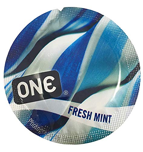 ONE Fresh Mint with Silver Lunamax Pocket Case, Premium Flavored Latex Condoms-24 Count