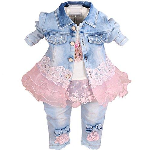 6M-5J Baby Mädchen 3-teiliger Jeans-Jacke aus Spitze und Jeans mit gestickten Langarm-T-Shirts(Rosa,3-4J)