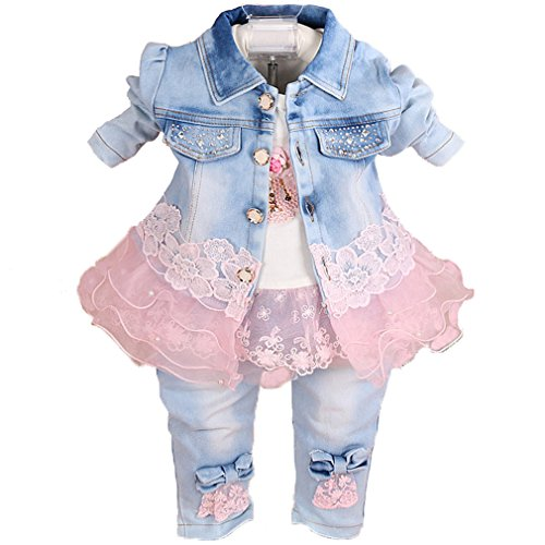 YAO Baby Girls Denim Clothing Sets 3 Pieces Sets T Shirt, Pink, Size 6-12 Months