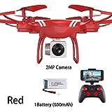 DEAR-JY Drones WiFi FPV portátiles,Drone Quadcopter RC Profesional de 2.4Ghz Plegable con cámara HD en Tiempo Real,Altitud Mantenga una tecla Regreso Apagado Drone de Control Remoto,Rojo,0.3MP
