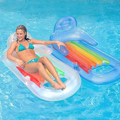 LULIJP Camas de Aire Reposabrazos Respaldo Fila Flotante de Lujo Fila Flotante Inflable Cama Flotante en el Agua Anillo de natación Juguete (Color : Azul)