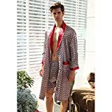 pajamas QSTF Men's Silk Nightgown, Summer Thin Long-Sleeved, Men's Plus Size Bathrobe, Two-Piece (Color : C, Size : Large)