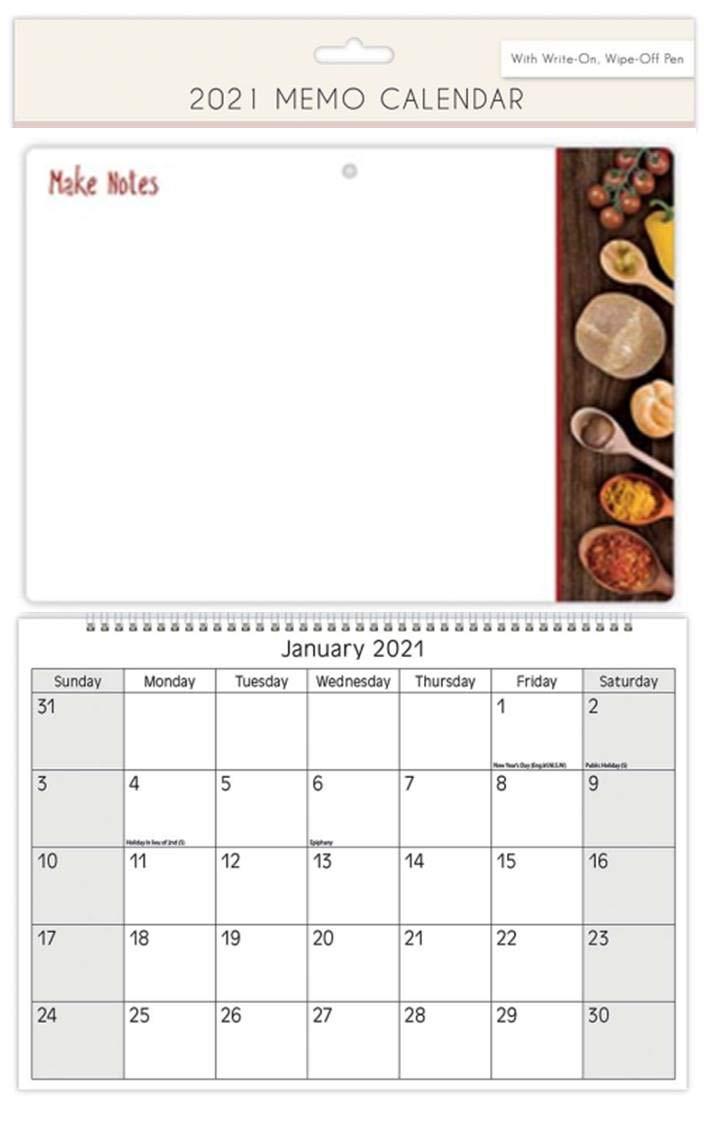 Calendario 2019 en Espiral con Pizarra de Marcador Borrable Para ...
