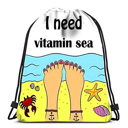 Ahdyr Gym Drawstring Bags I Need Vitamin Sea Sport Storage Polyester Bag for Gym