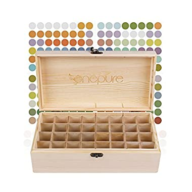 Onepure 32 Slot Essential Oil Storage Box Wooden Oil Case Organizer Holder with Free EO Label Removable Tray for 5ml 10ml 15ml Amber, 10ml Roller, or Larger 100ml 118ml 120ml Bottles