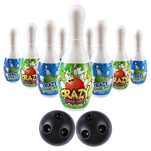 Batop Kinder Bowling Kegelspiel Spiele aus Plastik, 10 Bowlingkugel und 2 Bälle Kegelspiel Set Geschenk Spielzeug für Kinder ab 3 + Jahre