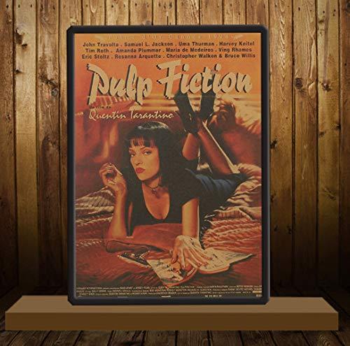 Tie Ler Pulp Fiction Retro Nostalgie Klassisches Altes Filmplakat Kraftpapier Wandaufkleber 1,5 * 36Cm