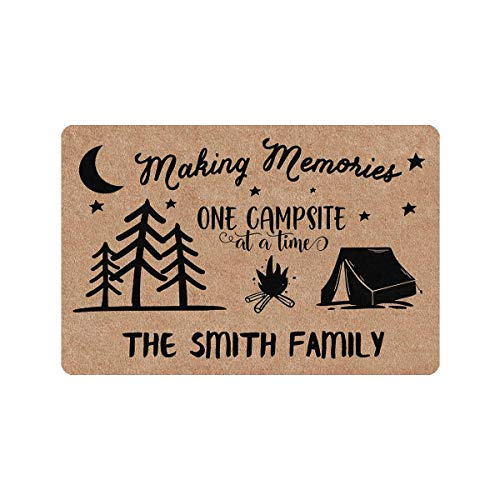 Custom Mat, Personalized Text Printed Doormat Making Memories One Campsite at a Time Door Mat Rug Welcome Indoor Outdoor Decor Entrance Mat Non Slip Floor Mat Rug for Living Room 24x16 Inches
