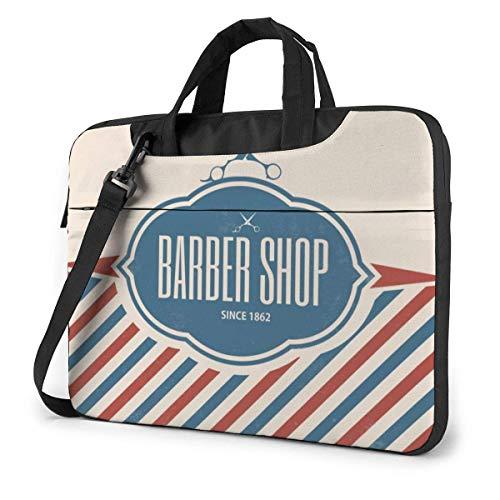15.6 inch Laptop Shoulder Briefcase Messenger Barber Shop Flag Red and Blue Line Tablet Bussiness Carrying Handbag Case Sleeve