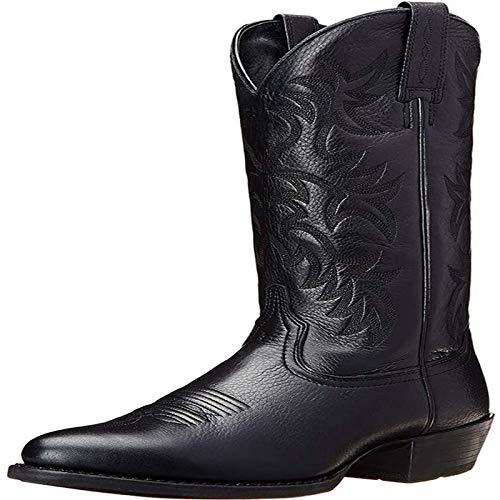 Männer Western-Cowboy-Stiefel europäische American Style Mid-Boot-Werften Wearable, flexibel und komfortabel für Außen,Schwarz,48