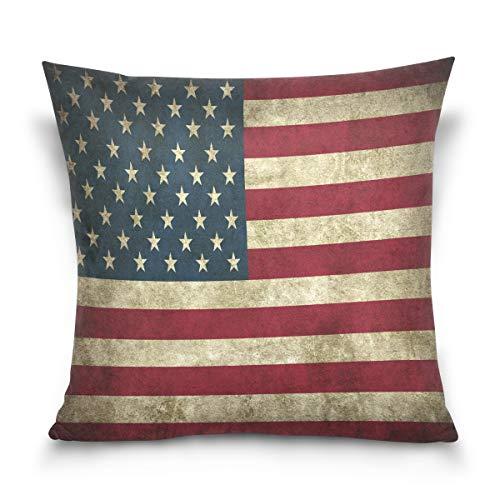 Linomo, Federa Decorativa per Cuscino, 40,6 x 40,6 cm, Motivo: Bandiera Americana Vintage, per Divano, Letto, Cotone, Multicolore, 20' x 20' (50 x 50 cm)