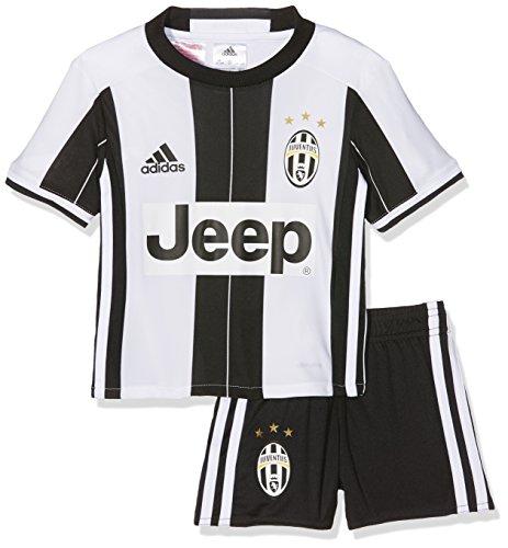 adidas Jungen Trainingsanzug Juventus Turin Mini-Heimausrüstung Trikot + Shorts, Top:White/Black Bottom:Black/White, 92