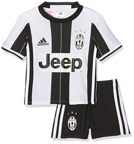 adidas Jungen Trainingsanzug Juventus Turin Mini-Heimausrüstung Trikot + Shorts, Top:White/Black Bottom:Black/White, 110