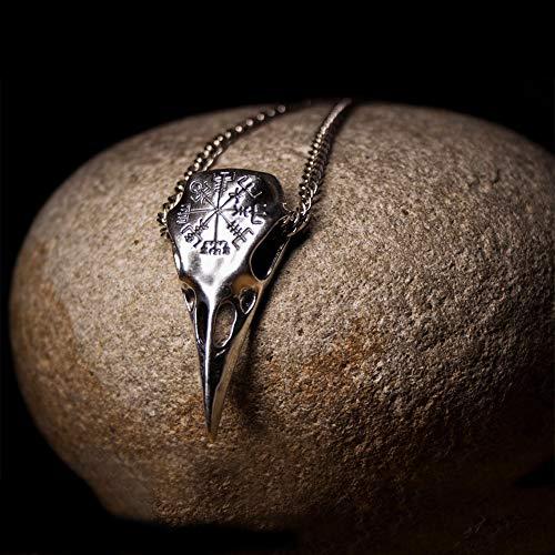 QZY Odins Raven Crâne Collier avec Boussole Viking, Runique, Argent Païen Mythologie Nordique Bijoux Cadeaux