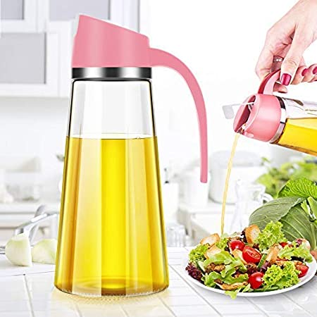 2 Pack Olive Oil Dispenser Bottle with Automatic Flip Lid Dripless Glass Oil Bottle for Kitchen Oil and Vinegar Cruet 12 Ounce Grey and Red