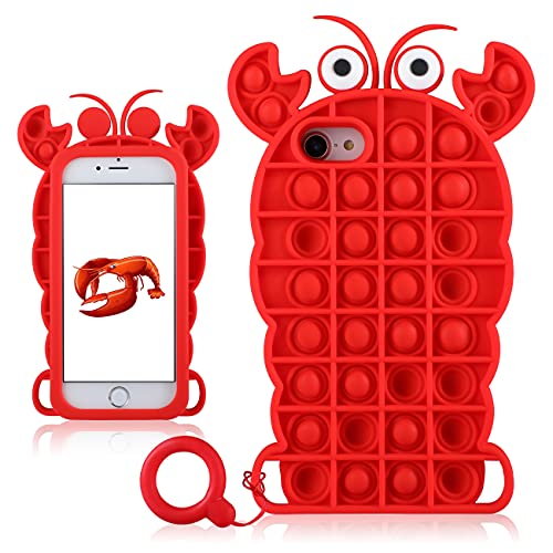 """Jowhep for iphone6/6S/7/8/SE 2020 Case Cover Cases Silicone Cartoon Fun Cute Kawaii Aesthetic Design Character Fidget Shell for Girls Boys Friends Teen-Bubble Lobster(for iPhone 6/6S/7/8/SE 2020 4.7"""")"""