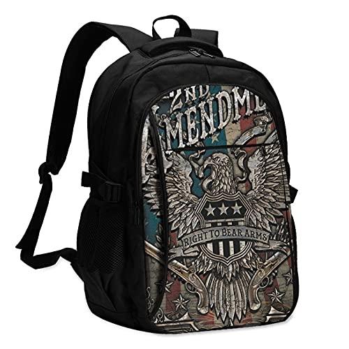 Mochilas para portátil con USB Metal signo patriótico Estados Unidos 2 Eagle Travel Backpack College School Business Notebook Bag Negro
