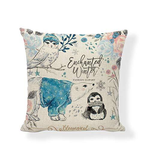 DXSERCV Cushion Cover Colorful Style Penguin Ocean Play Raccoon Sofa Yoga Chair Office Car Decoration Cushion Cover 45 * 45Cm