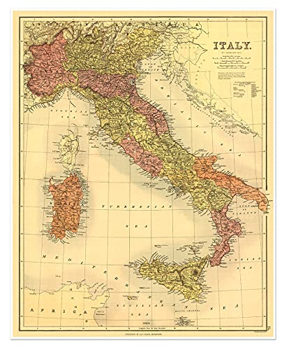 Antiguos Maps - Italy, Sardinia & Sicily Map by J. Bartholomew Circa 1890 - Measures 24 in x 32 in (610 mm x 813 mm)