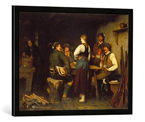Gerahmtes Bild von Franz von Defregger Wilderer in der Sennhütte, Kunstdruck im hochwertigen handgefertigten Bilder-Rahmen, 70x50 cm, Schwarz matt