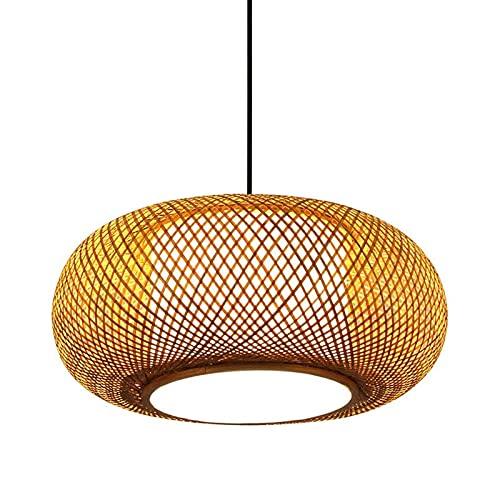 N\C Retro Linterna Colgante Lámpara Bambú Pantalla de bambú Dormitorio Sala de Estar Araña de Techo Cuarto de Comedor Rattan Lámpara de Mimbre Bar Cafe Club Colgante Lámpara E27