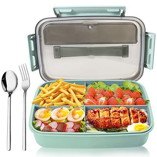Fun Life Bento Box Lunchbox Brotdose Brotbüchse für Kinder und Erwachsene Auslaufsichere Lunchbox mit 4 Fächern und Besteckset für Salatbeläge, Snacks (Grün)