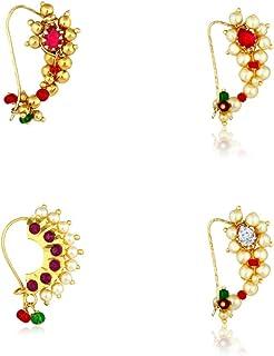 MeenazTraditional Jewellery Gold Maharashtrian Wedding Combo Nose pin/Nath Nose Ring for Women Girls (4 pcs) -Nath COMBO-17