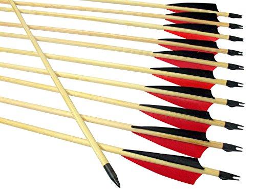 """Arrowforge - 12 Stück Holzpfeile Pfeile 4"""" Shield Rote Leitfeder"""