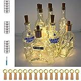 Fairy String Lights 15 Pack 6.5 Feet 20 LED Wine Bottle Cork Lights Battery Operated Flexible Starry Lights for DIY Party Wedding Bedroom Festival Halloween Bar Jar Lamp Decoration(Warm White)