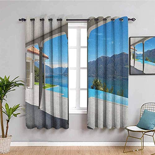 LucaSng Blackout Curtain Thermal Insulated - Villa blue landscape lake - 104x83 inch - for Bedroom Kitchen Living Room Boy Girl Window - 3D Digital Printing Eyelet Ring Curtain
