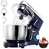 Stand Mixer, 5.5L 1500W Tilt-Head 6 Speeds Food Mixer, Removable Stainless Steel Mixing Bowl, Kitchen Mixer for Baking Includes Beater, Dough Hook, Whisk, Bowl Cover and Splash Guard