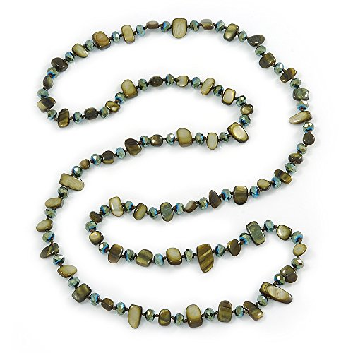 Avalaya - Collana lunga con pepita verde oliva e perline di cristallo di vetro, lunghezza 110 cm