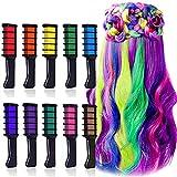 EBANKU 10 Colores Peines de Tiza Temporales de Cabello Tinte no Tóxico Lavables Para niños Pelo teñido, Fiesta, Navidad y Cosplay DIY