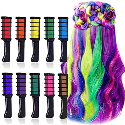 EBANKU Haarkreide Kamm 10 Farben Kinder Haarfärbemittel, Temporär Haarkreide für Geschenk Cosplay Karneval Weihnachten Halloween Geburtstag Partys DIY