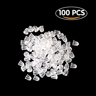 Shintop 100pcs Earring Backs Clear Soft Silicone Earring Safety Backs