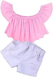 Hooyi Ropa de Verano para Niñas Camiseta de Hombros Descubiertos Top Rosa Vaqueros Cortos Blanco