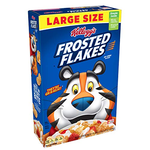 Kellogg's Breakfast Cereal, Frosted Flakes, Fat-Free, 19.2 oz Box