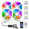 LED Strip Lights, LED Strips 5050 RGB Music Sync String Light 65.6FT/20M Bedroom Strip Light Color Changing Rope Lights APP Control + 44 Keys Remote for Bedroom Sitting Room Kitchen Home Party