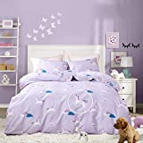 Cottonight Unicorn Bedding Set Queen Purple Rainbow Organic Bedding Reversible Striped Duvet Cover for Kids Girls Teens Soft Comfy