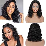 ShiningGirl Bob Lace Front Wigs Human Hair,Wavy Human Hair Wigs For Women,13x4 Lace Body Wave Wigs Human Hair,13A Brazilian Virgin Human Hair Wigs Pre Plucked with Baby Hair, 8Inch, Natural Black