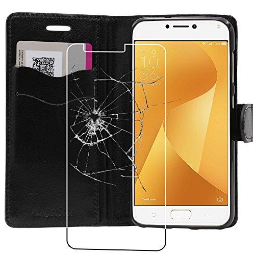 ebestStar - Cover Compatibile con ASUS Zenfone Max Plus M1 ZB570TL Custodia Portafoglio Pelle PU Protezione Libro Flip, Nero + Pellicola Vetro Temperato [Apparecchio: 152.6 x 73 x 8.8mm, 5.7'']