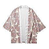 MIAOML Hombre Camisa Kimono Estilo Japonés Estampado Holgado Manga 3/4 Cardigan Chaqueta Capa Ropa Casual Abrigo Camisetas Cuello Mao Vintage Blusa T-Shirt Top,H-M