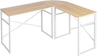 MEUBLE COSY d'Angle Ordinateur Table Informatique en Forme de L Bureau à Domicile, Chêne, 123x103x72cm