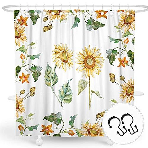 DESIHOM Duschvorhang mit Blumendesign, gelb, Sonnenblumen-Duschvorhang, Blumen-Motiv, Frühlingsduschvorhang, Sommerpflanzen-Duschvorhang, weißer Polyester, wasserdicht, 183 x 183 cm