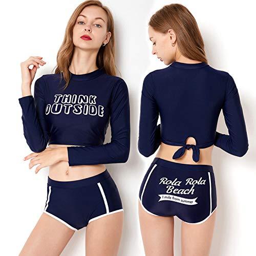 Vrouwen Lange Mouw Twee Stuk Sport Zwemkleding Shirt Rash Guard Top Tankinis Set Hoge Taille Badpak