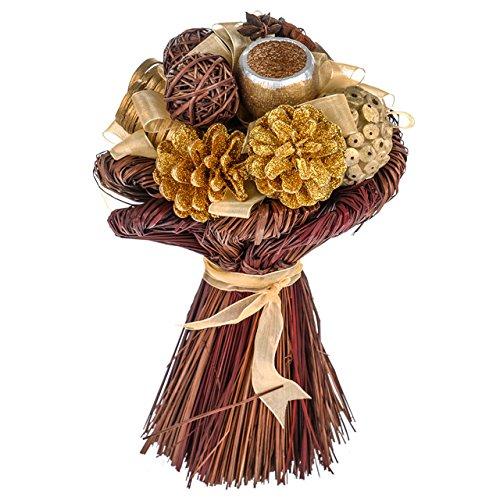 Artificielles mélangées arrangements floraux Main Tied Arrangement Doré Paillettes Taille L 30 x l 30 x H 32 cm